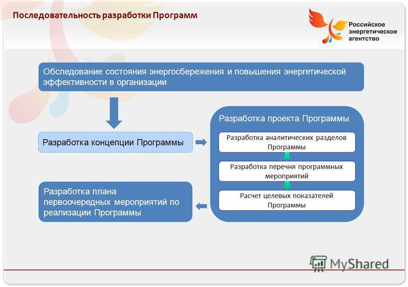 Российское энергетическое агентство 13.08.10 Последовательность разработки Программ Обследование состояния энергосбережения и повышения энергетической эффективности в организации Разработка концепции Программы Разработка проекта Программы Расчет целе
