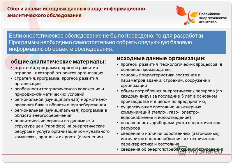 Российское энергетическое агентство 13.08.10 Сбор и анализ исходных данных в ходе информационно- аналитического обследования Если энергетическое обследование не было проведено, то для разработки Программы необходимо самостоятельно собрать следующую б
