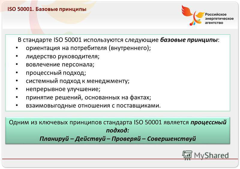 Российское энергетическое агентство 13.08.10 ISO 50001. Базовые принципы В стандарте ISO 50001 используются следующие базовые принципы: ориентация на потребителя (внутреннего); лидерство руководителя; вовлечение персонала; процессный подход; системны