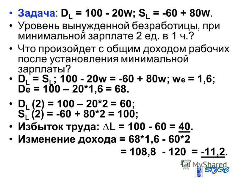 Задача: D L = 100 - 20 W ; S L = -60 + 80 W. Уровень вынужденной безработицы, при минимальной зарплате 2 ед. в 1 ч.? Что произойдет с общим доходом рабочих после установления минимальной зарплаты? D L = S L ; 100 - 20w = -60 + 80w; w е = 1,6; D е = 1