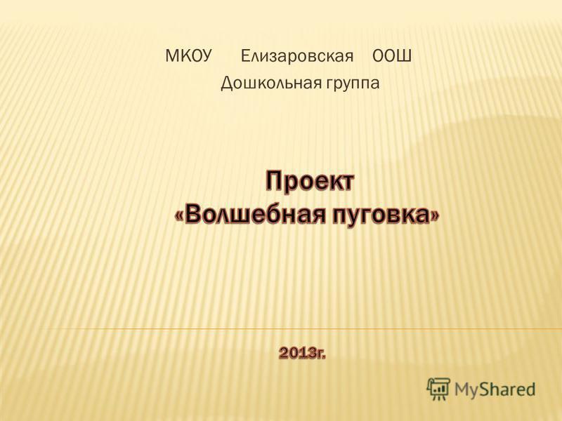 МКОУ Елизаровская ООШ Дошкольная группа