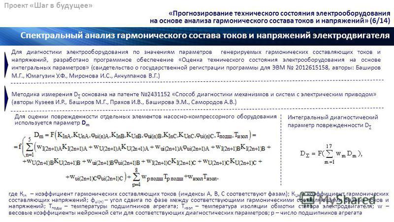 Проект «Шаг в будущее» Спектральный анализ гармонического состава токов и напряжений электродвигателя «Прогнозирование технического состояния электрооборудования на основе анализа гармонического состава токов и напряжений» (6/14) Для оценки поврежден