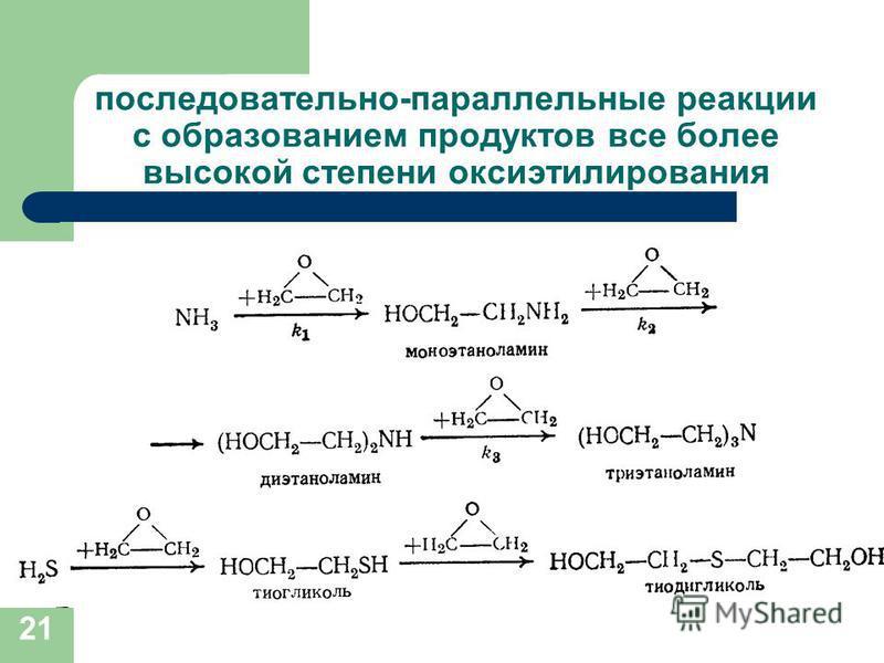последовательно-параллельные реакции с образованием продуктов все более высокой степени оксиэтилирования 21