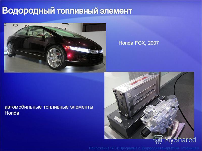 Honda FCX, 2007 автомобильные топливные элементы Honda Приложение 14.3 к Программе 2. Водородная энергетика. Страница 8