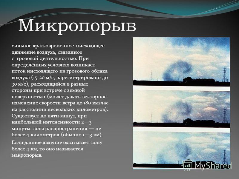 Микропорыв сильное кратковременное нисходящее движение воздуха, связанное с грозовой деятельностью. При определённых условиях возникает поток нисходящего из грозового облака воздуха (15-20 м/с, зарегистрировано до 30 м/с), расходящийся в разные сторо