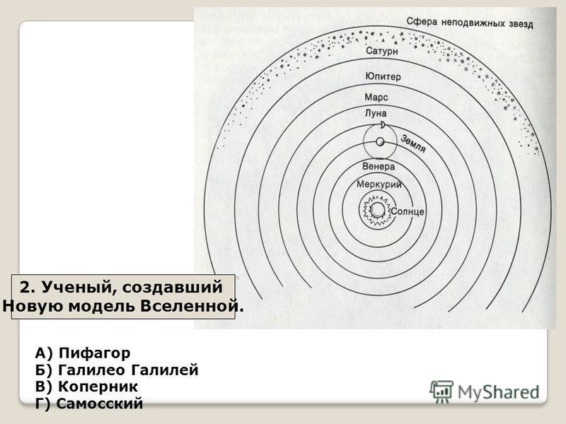 2. Ученый, создавший Новую модель Вселенной. А) Пифагор Б) Галилео Галилей В) Коперник Г) Самосский