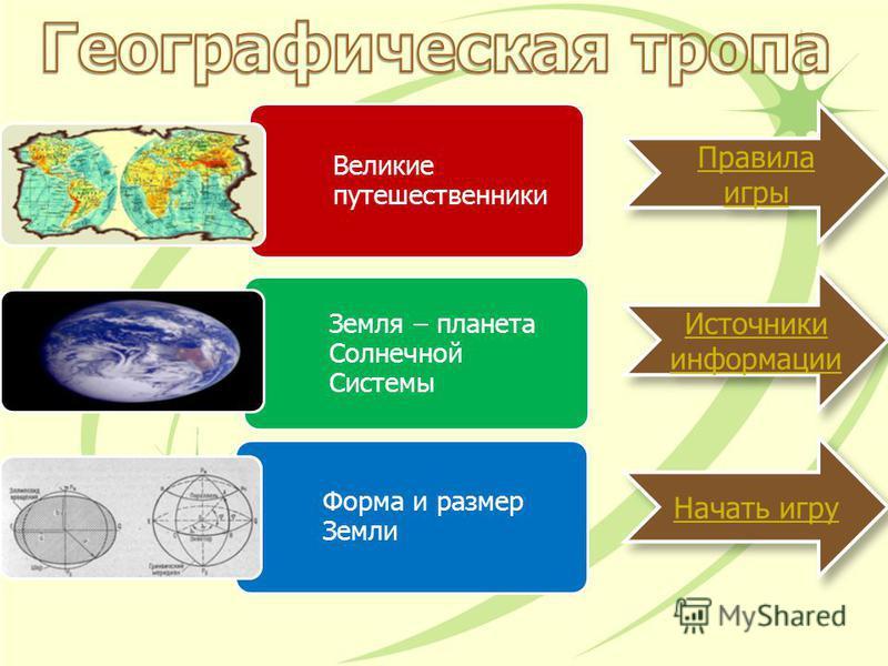 Великие путешественники Земля – планета Солнечной Системы Форма и размер Земли Источники информации Источники информации Правила игры Правила игры Начать игру