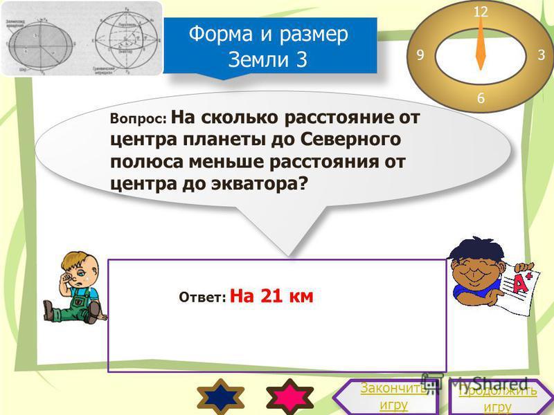 Вопрос: На сколько расстояние от центра планеты до Северного полюса меньше расстояния от центра до экватора? 12 3 6 9 Ответ: На 21 км Продолжить игру Продолжить игру Закончить игру Форма и размер Земли 3