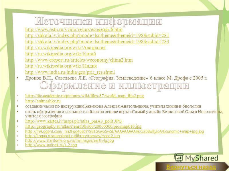 http://dic.academic.ru/pictures/wiki/files/87/world_map_fifa2. png http://animashky.ru создание часов по инструкции Баженова Алексея Анатольевича, учителя химии и биологии стиль оформления отдельных слайдов на основе игры «Самый умный» Безноговой Оль