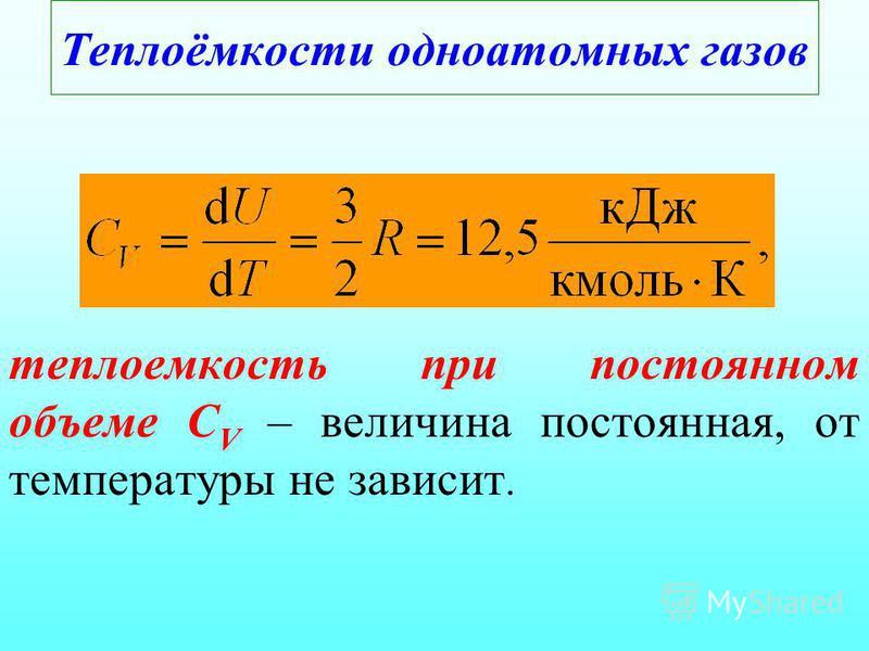 Теплоёмкости одноатомных газов теплоемкость при постоянном объеме С V – величина постоянная, от температуры не зависит.