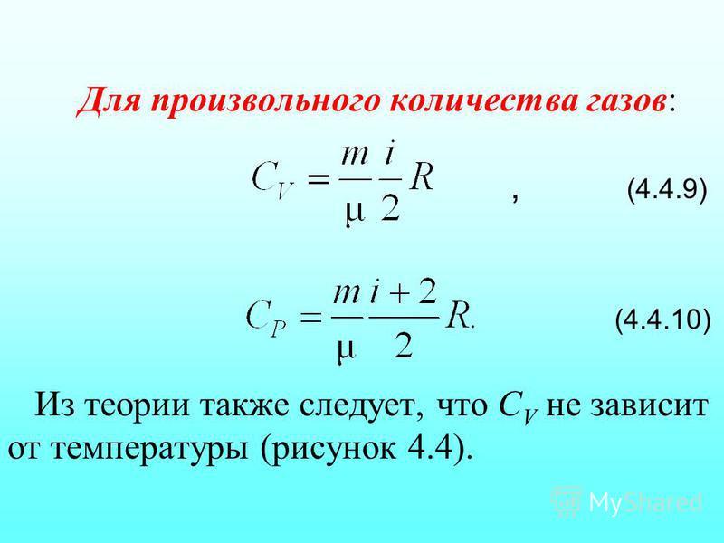 Для произвольного количества газов:, (4.4.9) (4.4.10) Из теории также следует, что С V не зависит от температуры (рисунок 4.4).