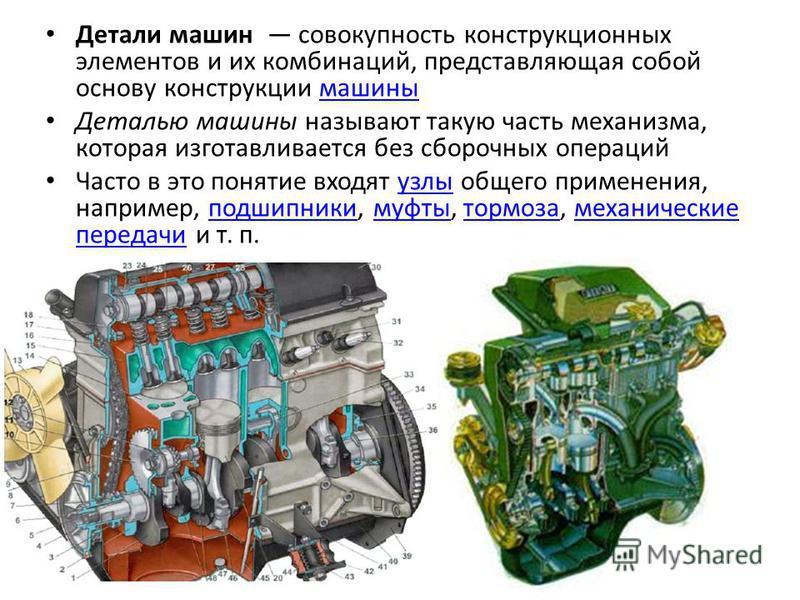 Детали машин совокупность конструкционных элементов и их комбинаций, представляющая собой основу конструкции машины Деталью машины называют такую часть механизма, которая изготавливается без сборочных операций Часто в это понятие входят узлы общего п