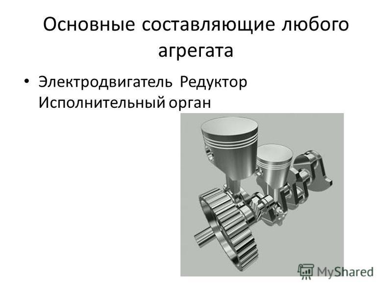 Основные составляющие любого агрегата Электродвигатель Редуктор Исполнительный орган