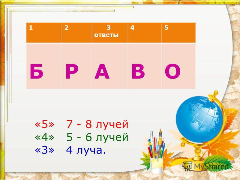 12 3 ответы 45 БРАВО «5» 7 - 8 лучей «4» 5 - 6 лучей «3» 4 луча.