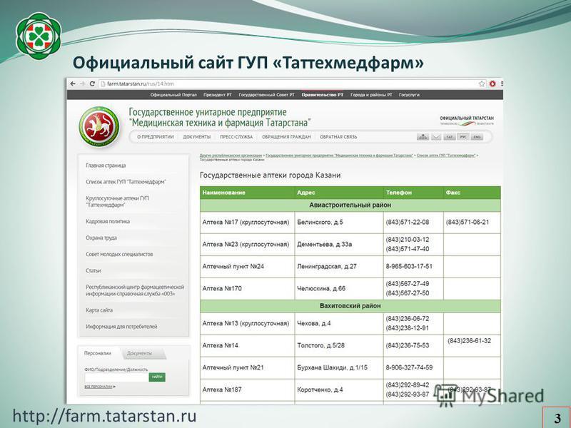 Официальный сайт ГУП «Таттехмедфарм» 3 http://farm.tatarstan.ru