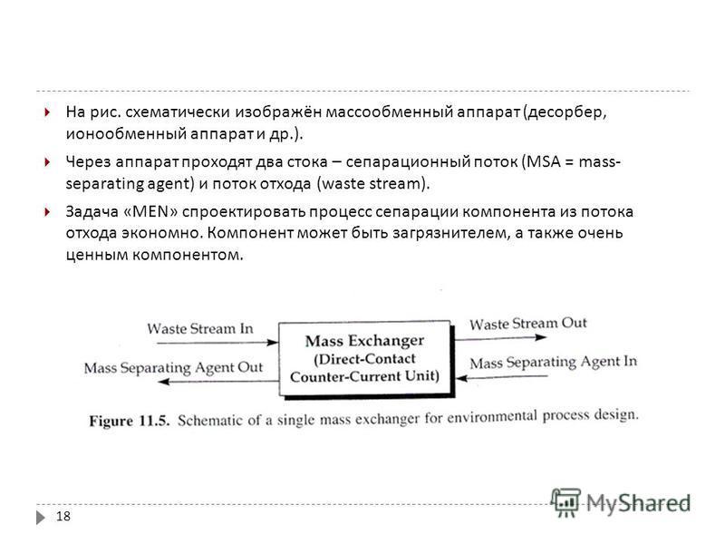 18 На рис. схематически изображён массообменный аппарат ( десорбер, ионообменный аппарат и др.). Через аппарат проходят два стока – сепарационный поток (MSA = mass- separating agent) и поток отхода (waste stream). Задача «MEN» спроектировать процесс