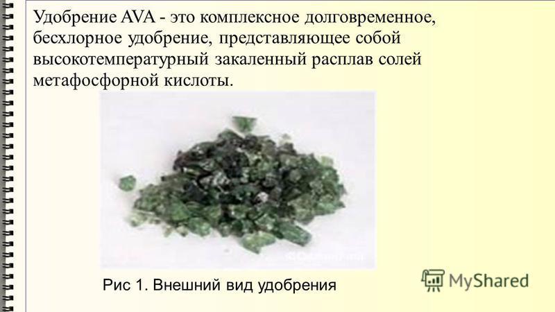 Удобрение AVA - это комплексное долговременное, бесхлорное удобрение, представляющее собой высокотемпературный закаленный расплав солей метафосфорной кислоты. Рис 1. Внешний вид удобрения