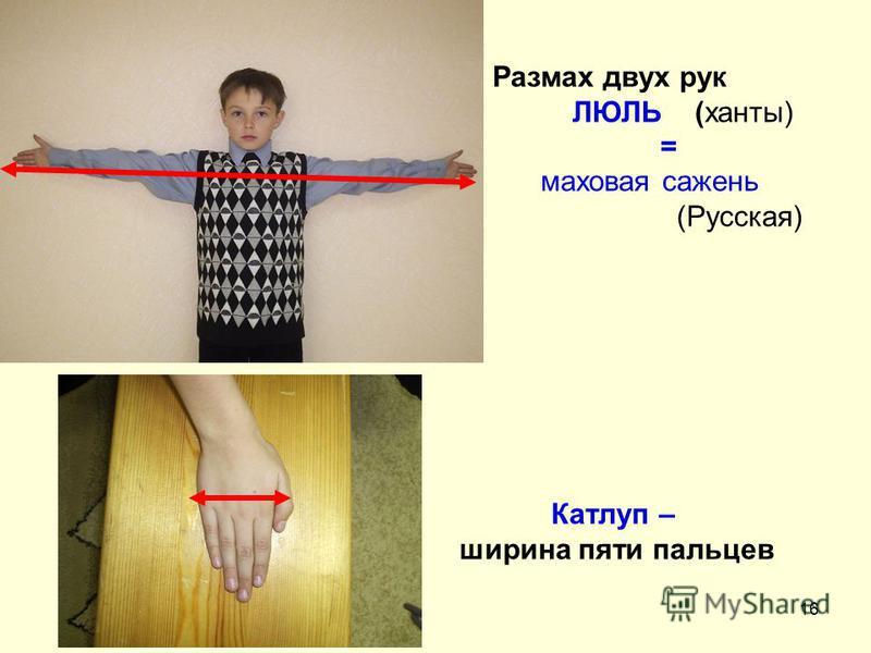 16 Размах двух рук ЛЮЛЬ (ханты) = маховая сажень (Русская) Катлуп – ширина пяти пальцев