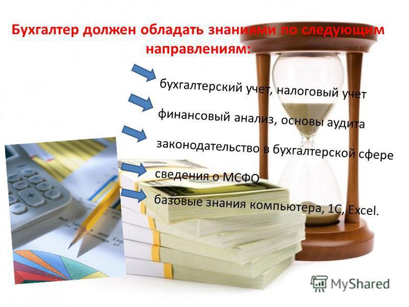 Бухгалтер должен обладать знаниями по следующим направлениям: бухгалтерский учет, налоговый учет финансовый анализ, основы аудита законодательство в бухгалтерской сфере сведения о МСФО базовые знания компьютера, 1C, Excel.