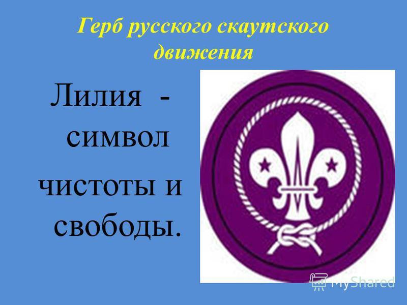 Герб русского скаутскойго движения Лилия - символ чистоты и свободы.