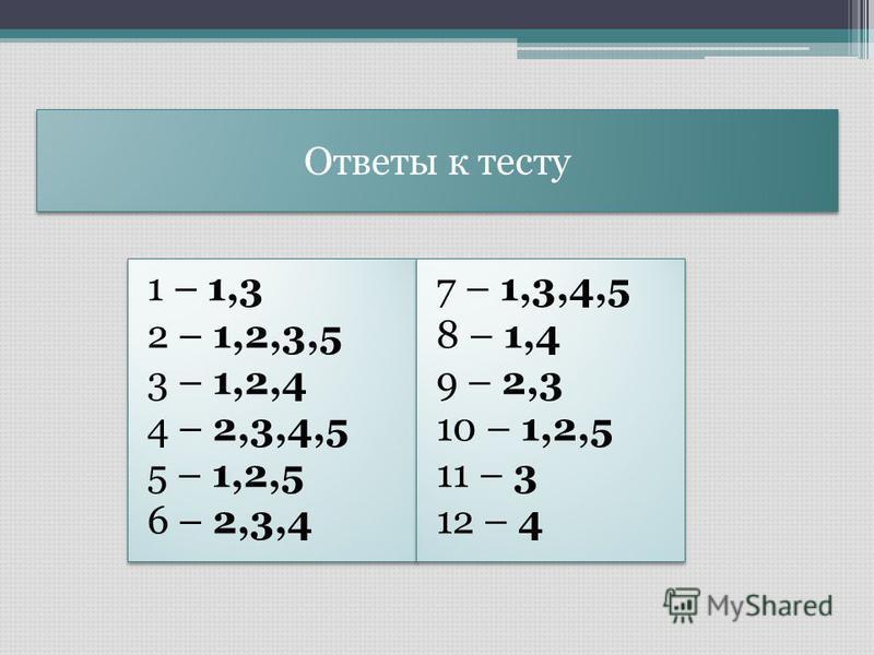 Ответы к тесту 1 – 1,3 2 – 1,2,3,5 3 – 1,2,4 4 – 2,3,4,5 5 – 1,2,5 6 – 2,3,4 1 – 1,3 2 – 1,2,3,5 3 – 1,2,4 4 – 2,3,4,5 5 – 1,2,5 6 – 2,3,4 7 – 1,3,4,5 8 – 1,4 9 – 2,3 10 – 1,2,5 11 – 3 12 – 4 7 – 1,3,4,5 8 – 1,4 9 – 2,3 10 – 1,2,5 11 – 3 12 – 4