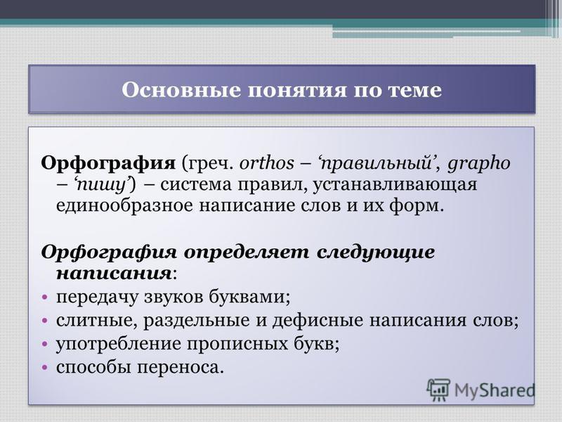 Основные понятия по теме Орфография (греч. orthos – правильный, grapho – пишу) – система правил, устанавливающая единообразное написание слов и их форм. Орфография определяет следующие написания: передачу звуков буквами; слитные, раздельные и дефисны