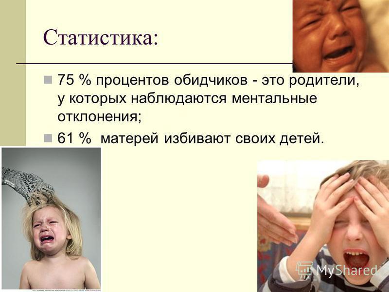 Статистика: 75 % процентов обидчиков - это родители, у которых наблюдаются ментальные отклонения; 61 % матерей избивают своих детей.