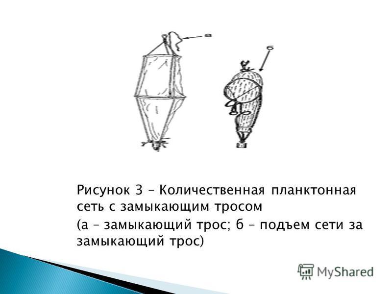 Рисунок 3 – Количественная планктонная сеть с замыкающим тросом (а – замыкающий трос; б – подъем сети за замыкающий трос)