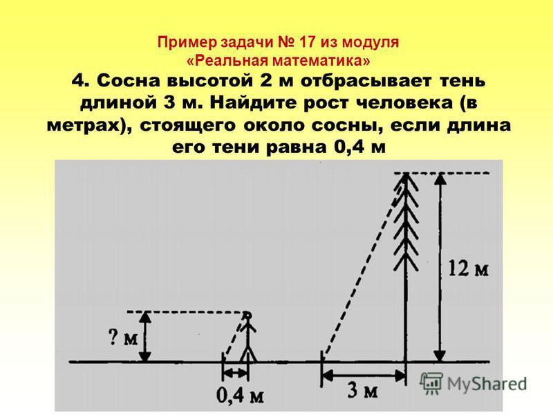 Пример задачи 17 из модуля «Реальная математика» 4. Сосна высотой 2 м отбрасывает тень длиной 3 м. Найдите рост человека (в метрах), стоящего около сосны, если длина его тени равна 0,4 м