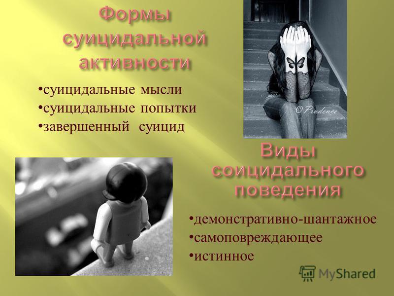 суицидальные мысли суицидальные попытки завершенный суицид демонстративно - шантажное самоповреждающее истинное