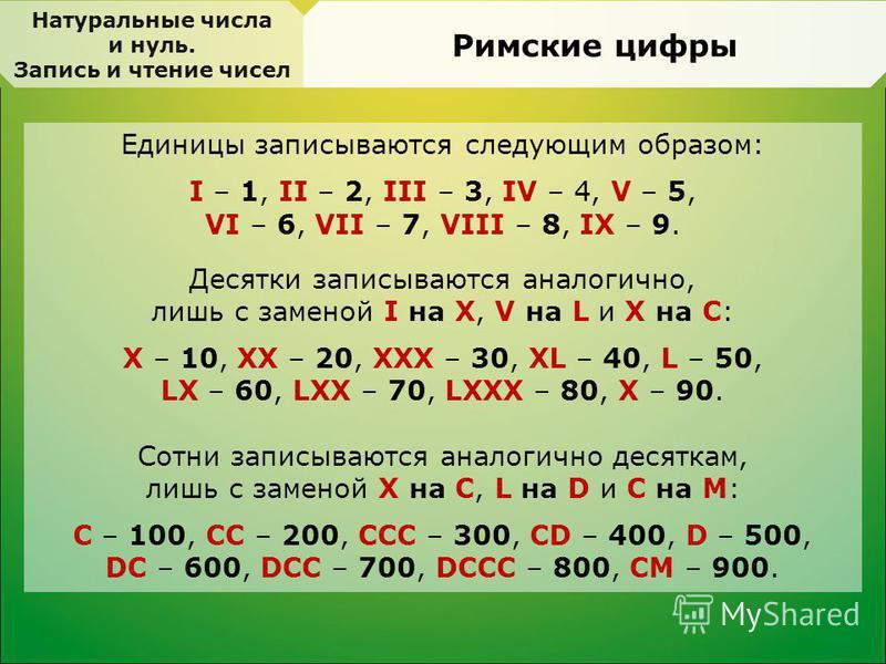 Единицы записываются следующим образом: I – 1, II – 2, III – 3, IV – 4, V – 5, VI – 6, VII – 7, VIII – 8, IX – 9. Десятки записываются аналогично, лишь с заменой I на X, V на L и X на C: X – 10, XX – 20, XXX – 30, XL – 40, L – 50, LX – 60, LXX – 70,