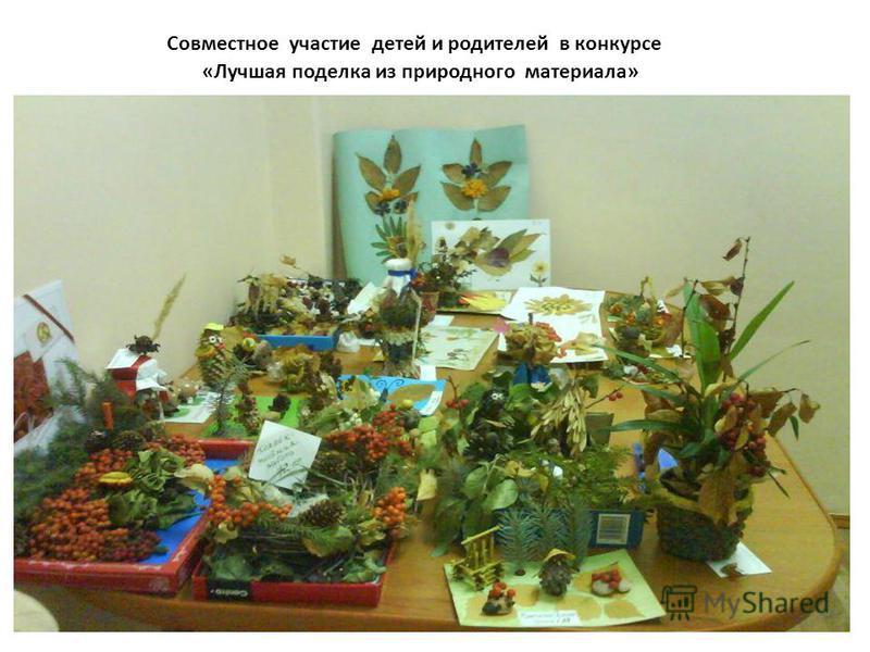Совместное участие детей и родителей в конкурсе «Лучшая поделка из природного материала»