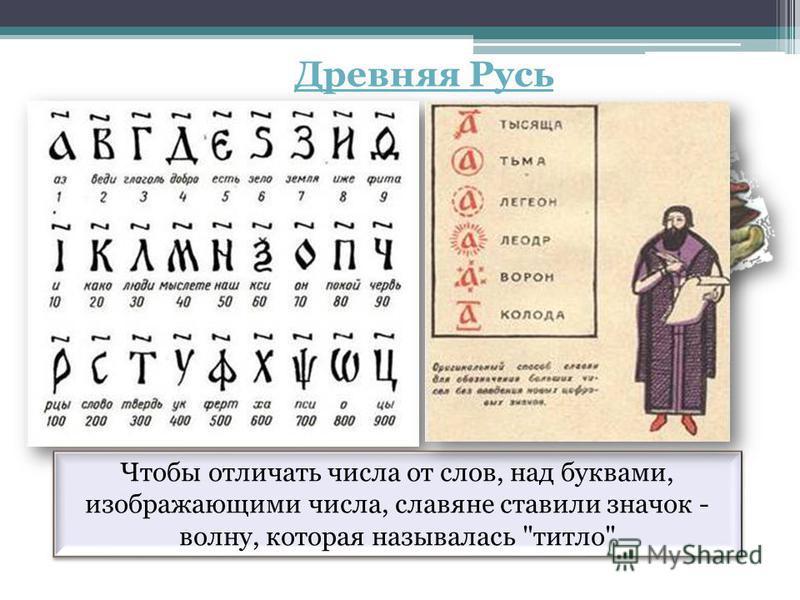 Чтобы отличать числа от слов, над буквами, изображающими числа, славяне ставили значок - волну, которая называлась титло Древняя Русь