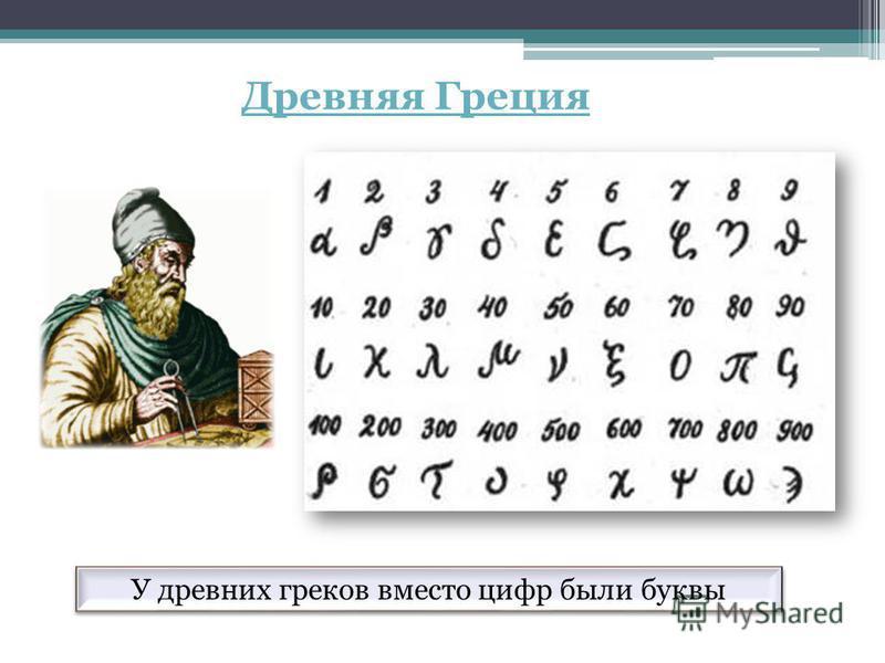 У древних греков вместо цифр были буквы Древняя Греция