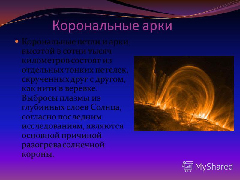 Корональные арки Корональные петли и арки высотой в сотни тысяч километров состоят из отдельных тонких петелек, скрученных друг с другом, как нити в веревке. Выбросы плазмы из глубинных слоев Солнца, согласно последним исследованиям, являются основно