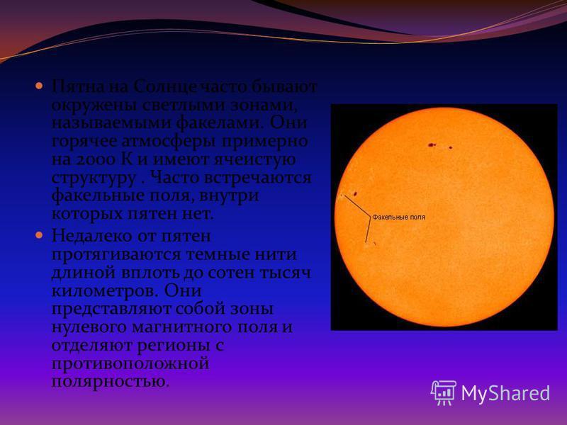 Пятна на Солнце часто бывают окружены светлыми зонами, называемыми факелами. Они горячее атмосферы примерно на 2000 К и имеют ячеистую структуру. Часто встречаются факельные поля, внутри которых пятен нет. Недалеко от пятен протягиваются темные нити