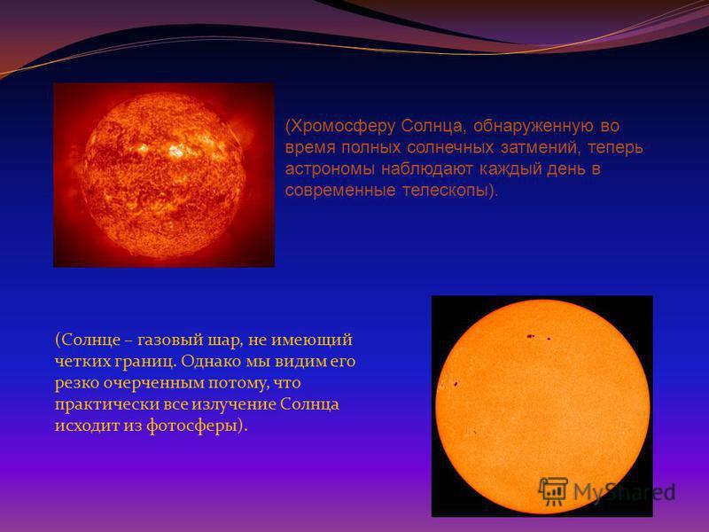 (Хромосферу Солнца, обнаруженную во время полных солнечных затмений, теперь астрономы наблюдают каждый день в современные телескопы). (Солнце – газовый шар, не имеющий четких границ. Однако мы видим его резко очерченным потому, что практически все из