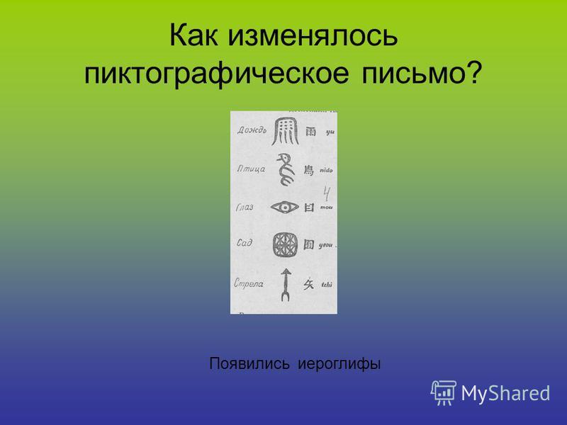 Как изменялось пиктографическое письмо? Появились иероглифы