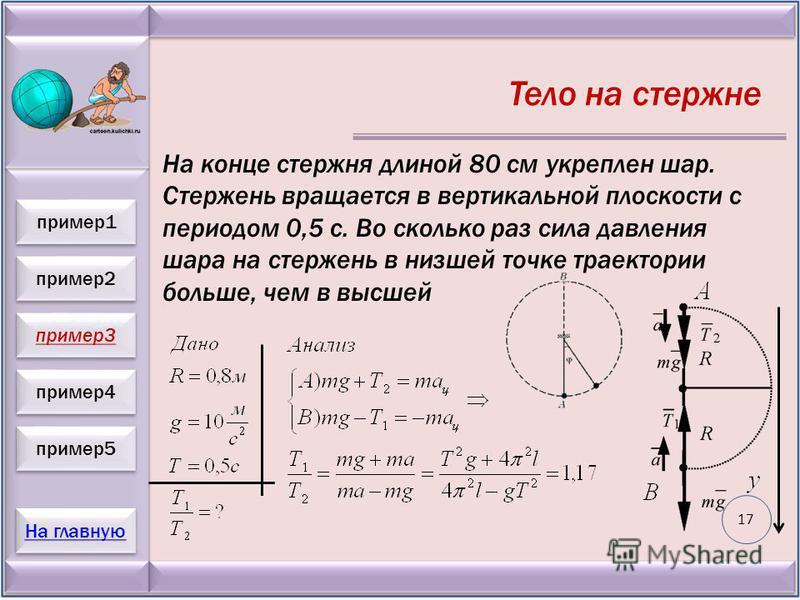 пример 2 пример 3 пример 4 пример 5 На главную пример 1 Тело на стержне На конце стержня длиной 80 см укреплен шар. Стержень вращается в вертикальной плоскости с периодом 0,5 с. Во сколько раз сила давления шара на стержень в низшей точке траектории