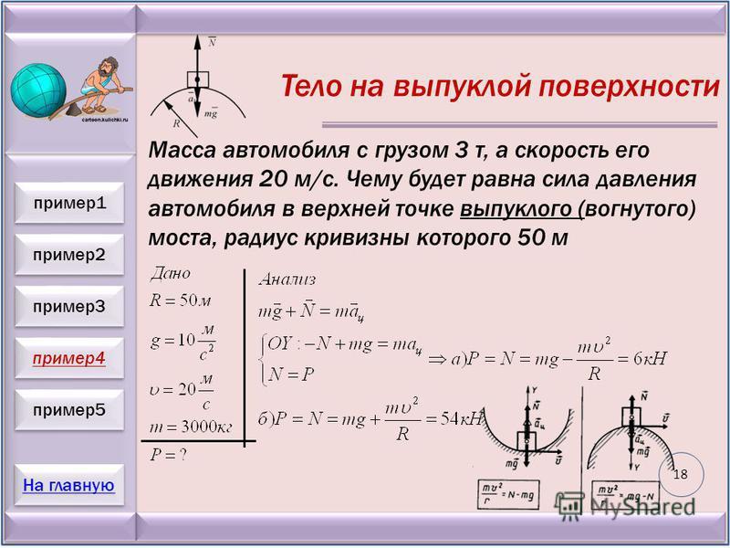 пример 2 пример 3 пример 4 пример 5 На главную пример 1 Тело на выпуклой поверхности Масса автомобиля с грузом 3 т, а скорость его движения 20 м/с. Чему будет равна сила давления автомобиля в верхней точке выпуклого (вогнутого) моста, радиус кривизны