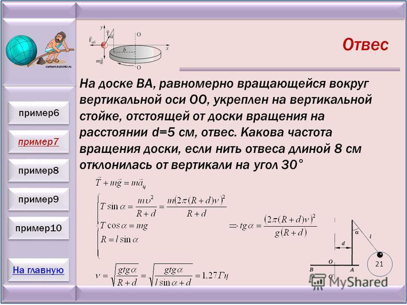 пример 7 пример 8 пример 9 пример 10 На главную пример 6 Отвес На доске ВА, равномерно вращающейся вокруг вертикальной оси ОО, укреплен на вертикальной стойке, отстоящей от доски вращения на расстоянии d=5 см, отвес. Какова частота вращения доски, ес