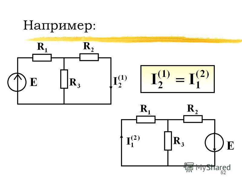 51 Перестановка единственного источника ЭДС из ветви m в ветвь n создает в ветви m ток, равный току в ветви n до перестановки источника