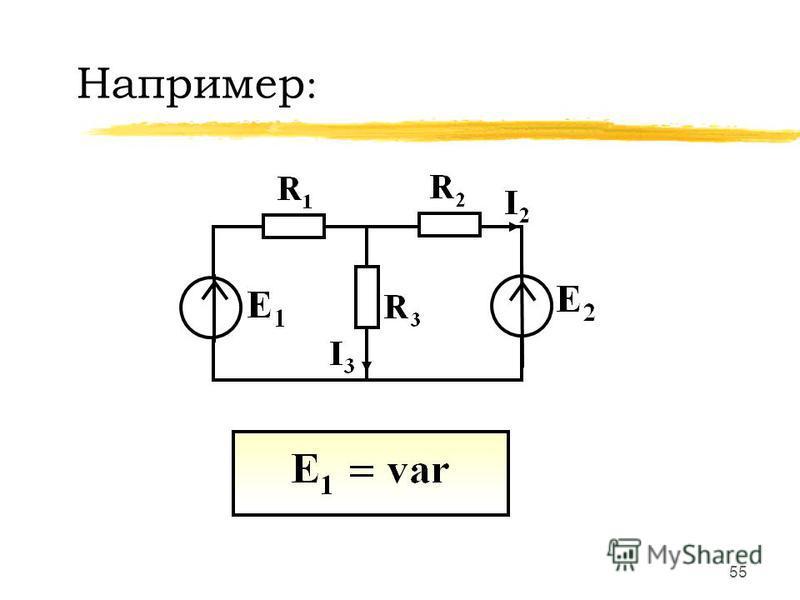 54 При изменении в цепи одного параметра (ЭДС, ток источника тока, сопротивление резистивного элемента) между двумя токами (напряжениями) существует линейная зависимость