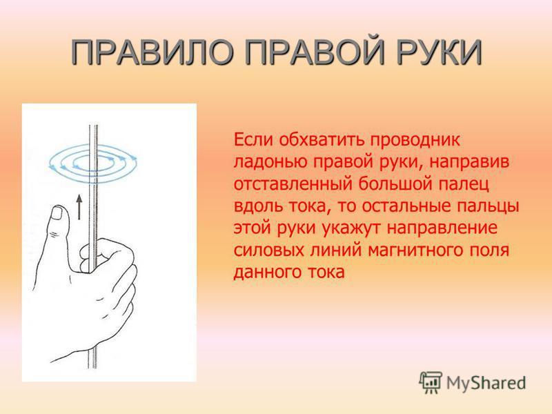 ПРАВИЛО ПРАВОЙ РУКИ Если обхватить проводник ладонью правой руки, направив отставленный большой палец вдоль тока, то остальные пальцы этой руки укажут направление силовых линий магнитного поля данного тока