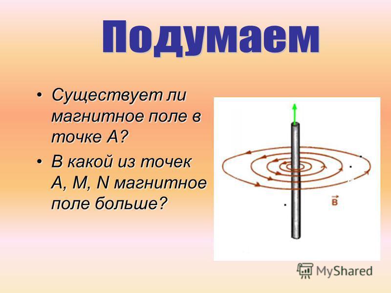 Существует ли магнитное поле в точке А?Существует ли магнитное поле в точке А? В какой из точек А, М, N магнитное поле больше?В какой из точек А, М, N магнитное поле больше? N M А