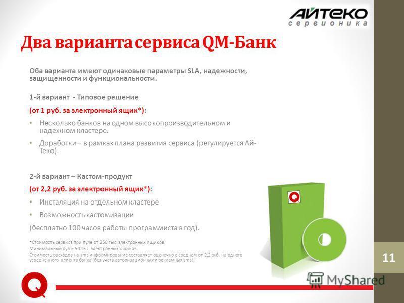 11 Два варианта сервиса QM-Банк Оба варианта имеют одинаковые параметры SLA, надежности, защищенности и функциональности. 1-й вариант - Типовое решение (от 1 руб. за электронный ящик*): Несколько банков на одном высокопроизводительном и надежном клас