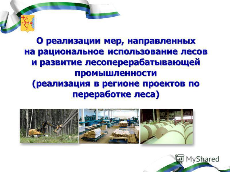 О реализации мер, направленных на рациональное использование лесов и развитие лесоперерабатывающей промышленности (реализация в регионе проектов по переработке леса)