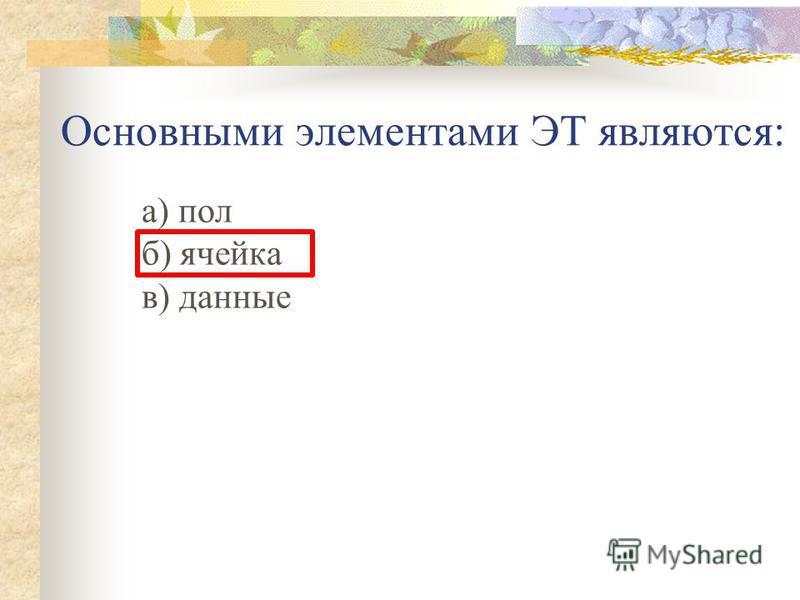 Основными элементами ЭТ являются: а) пол б) ячейка в) данные