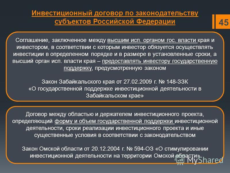 Инвестиционный договор по законодательству субъектов Российской Федерации Соглашение, заключенное между высшим исп. органом гос. власти края и инвестором, в соответствии с которым инвестор обязуется осуществлять инвестиции в определенном порядке и в