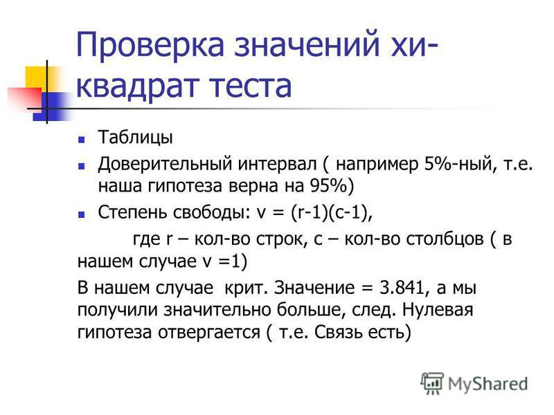 Проверка значений хи- квадрат теста Таблицы Доверительный интервал ( например 5%-ный, т.е. наша гипотеза верна на 95%) Степень свободы: v = (r-1)(c-1), где r – кол-во строк, с – кол-во столбцов ( в нашем случае v =1) В нашем случае крит. Значение = 3